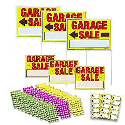 Sunburst Systems 3030 Assembled Yard Large, Pre-Printed Pricing Labels (Stickers) and Garage Sale Signs Kit