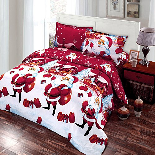 Anself 4PCS Christmas Bedding Sets, Bed Sheet + Quilt Cover + Pillow...