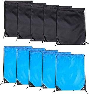 SAPU 10PCS Drawstring Backpack Bags-Cinch Sack Waterproof Kids Sport Storage Polyester Bag for Gym (Black& Blue) 2Colors
