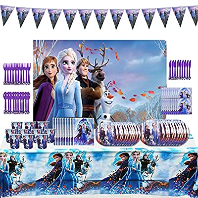 Frozen Party Supplies 120 PSC Frozen Birthday Party Decorations Frozen Party Game Includes Table Cloth,Happy Birthday Banner, Plates Cups Napkins for 10 Guest from RUIJIA