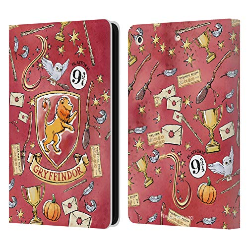 Official Harry Potter Gryffindor Pattern Deathly Hallows XIII Leather Book Wallet Case Cover Compatible For Apple iPad Air (2013)