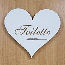 Hart houten bord Dekoschild TOILETTE deurschild 13 x 12 cm Shabbyschild hartje waarschuwingsbord zelfklevend toiletbord