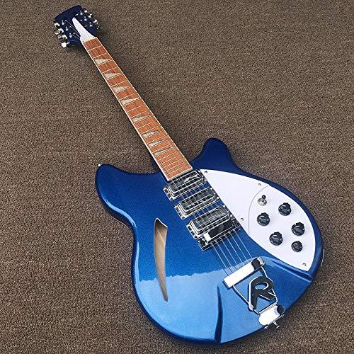 MLKJSYBA Guitarra 12 Cuerdas Eléctrica Guitarra Eléctrica Guitarra Metal Azul Cuerpo Palisandro...