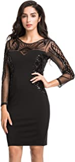 Women Cocktail Dress Sequin Deco Long Sleeve Sheath Pencil Formal Dress