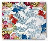 Yanteng Alfombrilla de ratón asiática, Fondo de Estilo japonés Tradicional con diseño Floral Moderno Popular de los Iconos Florales de los...