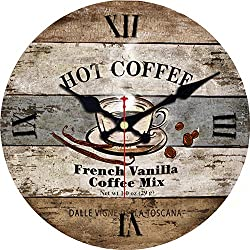 MEISTAR 6 Inch French Country Style Antique Wooden Small Kids Room Wall Clocks,Vintage Coffee Design Round Quartz Movement Battery Powered Wall Clock