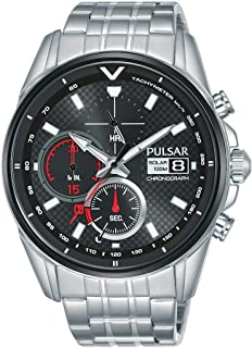 Seiko UK Limited - EU Men's Analogue Japanese Quartz Pulsar Solar M Sport Chronograph Watch with Stainless Steel Bracelet ...