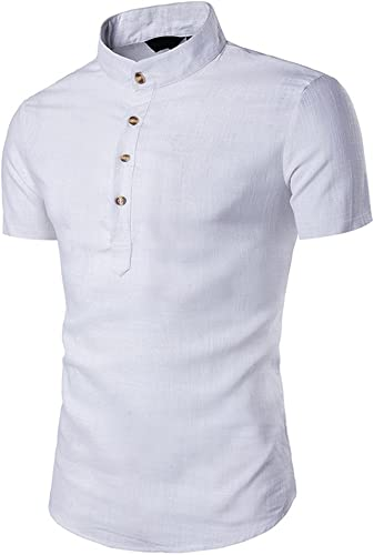 CHZDCS Shirt Hommes Shirt Slim Fit Hommes Stand Neck manche courte Daily Look Linen Shirts hauts chemisier