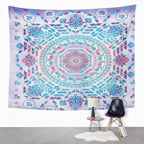Y·JIANG Tapiz floral con medallón de mandala turquesa morado rosa para el dormitorio del hogar, tapiz grande decorativo para colgar en la pared, manta para sala de estar, dormitorio, 80 x 60 pulgadas