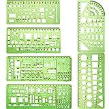 Plantilla medidora 6 plantillas de dibujos circulares de plástico para construcción de plantillas de dibujo geométrico para oficina y escuela