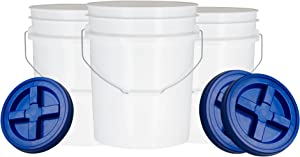 House Naturals 5 Gallon Plastic Bucket Pail Food Grade BPA Free with Blue Gamma Screw on Lid( Pack of 3) Made in USA