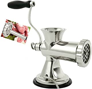 Huanyu Meat Grinder & Sausage Stuffer Stainless Steel Manual Meat Grinder Sausage Filler Filling Machine for Pork, Beef, Fish, Chicken Rack, Pepper, Mushrooms, Long Beans, ect. (With Enema Mouth NO.1)
