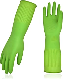 Vgo 10-Pairs Dishwashing Gloves, Reusable Household Gloves, Kitchen Gloves, Long Sleeve, Thick Latex, Cleaning, Washing, Working, Painting, Gardening, Pet Care (Size L, Green, RB2143)