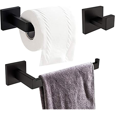 9PCS Black Aluminum Wall Mounted Bathroom Hardware Bath Accessory Set Towel Bar