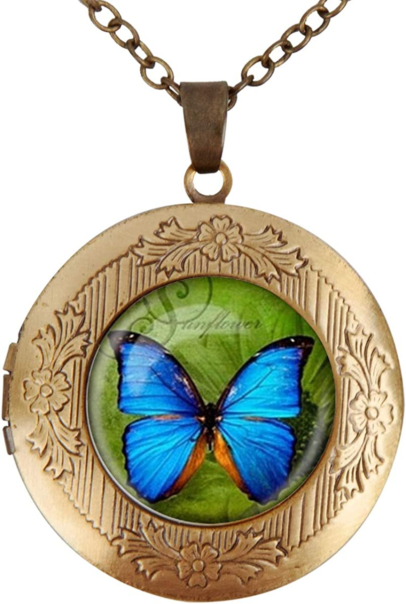 Women's Custom Locket Closure Pendant Butterfly Los Max 84% OFF Angeles Mall In Blue Necklace