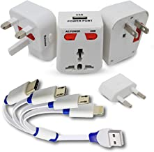 Universal Travel Adapter Plug with USB World Wide Charger, White 4 in 1 Multiple USB Charging Cable, Type C, Mini, Micro, Lighting USB Ports, for iPhone X/ 8/7 / Galaxy S9 /S8 /S7/Note 8 and More.