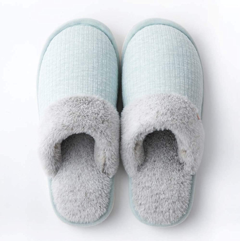 Ladies Slippers Winter Warm Faux Fur Slipper Soft Flat Plush Slipper Non-Slip Outdoor Indoor - with Super Quality,Green,39 40EU