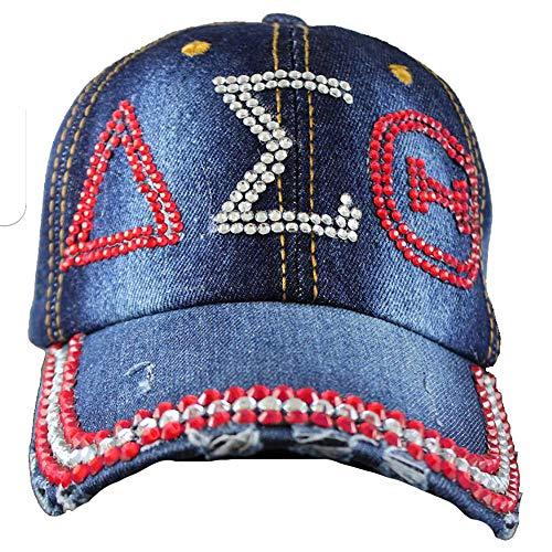 Delta Sigma Theta Sorority Distressed Denim Hat Cap with Rhinestones