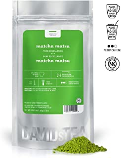 DAVIDsTEA Matcha Matsu Authentic Japanese Green Tea Powder, Premium Stoneground Green Tea for Hot or Iced Matcha, Lattes and Baking, 2 oz