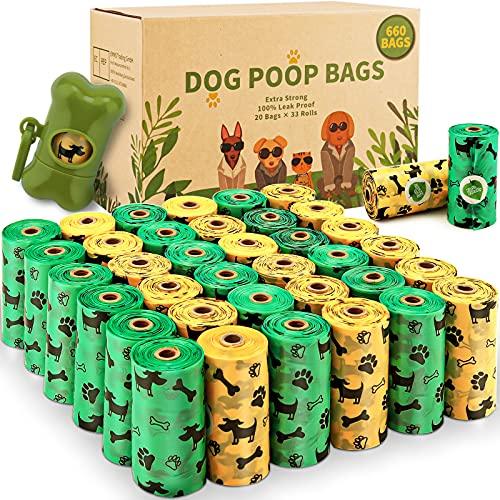 AMAYGA Bolsas para Caca de Perro,33 Rollos/660 Unidades,Extra Grueso Prueba de Fugas, Bolsas para residuos de Perros, 1 dispensador