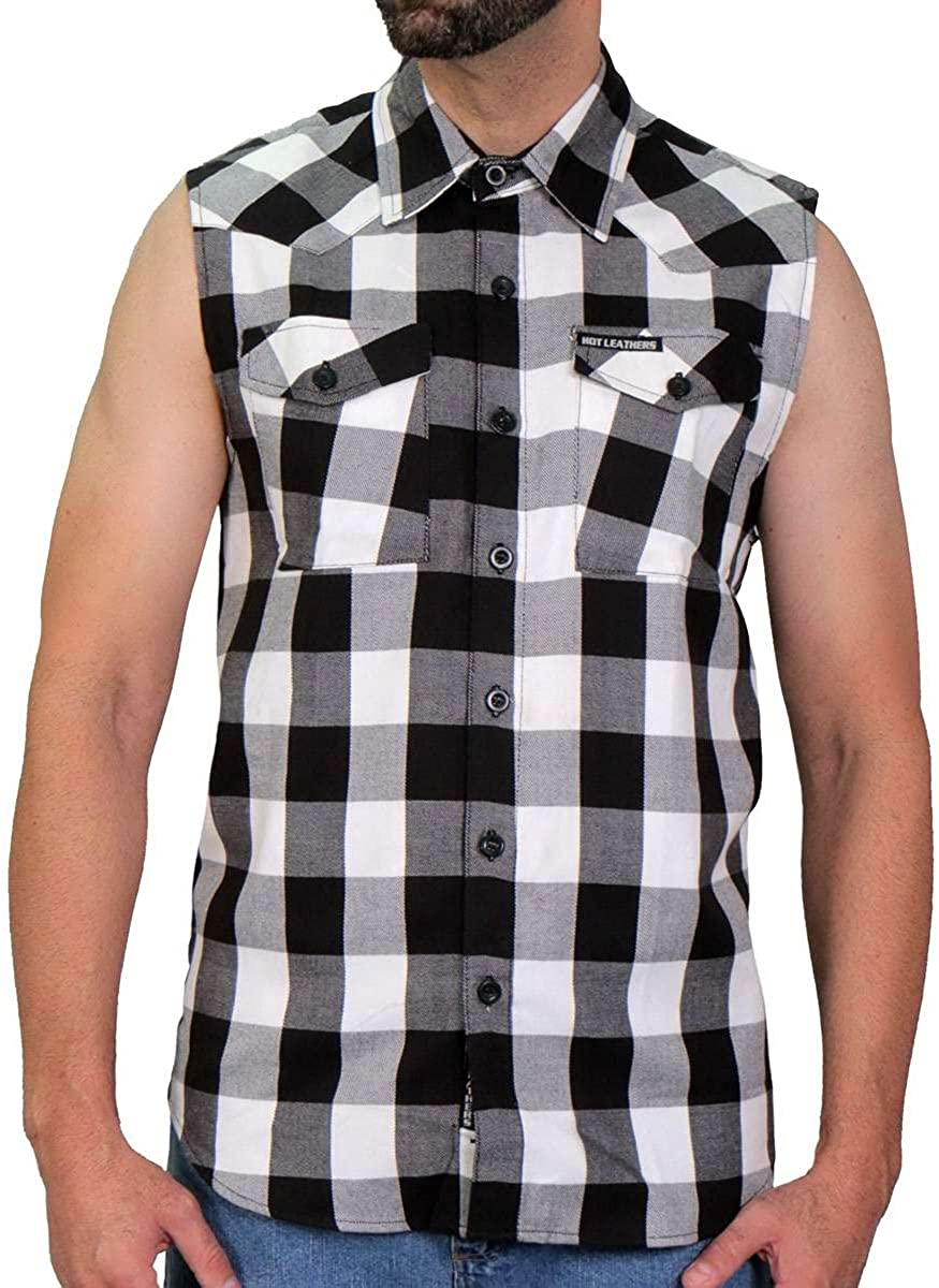 Hot Inventory cleanup selling sale Leathers FLM5004 Men's Black Sleeveless Fla Memphis Mall Cotton and White