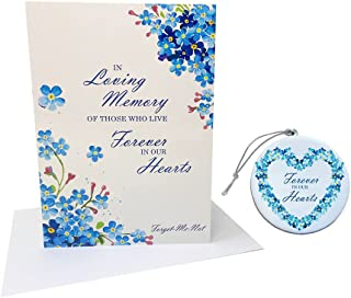 In Loving Memory Sympathy Card & Forget Me Not Ornament Memorial Gift Set