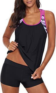 Aleumdr Womens Blouson Striped Printed Strappy T-Back Push up Tankini Top with Shorts