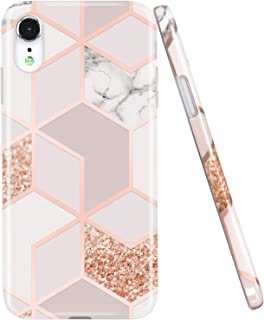 JAHOLAN Compatible iPhone XR Case Bling Glitter Sparkle Rose Gold Marble Design Clear Bumper TPU Soft Rubber Silicone Cover Phone Case for iPhone XR 2018 6.1 inch Gold
