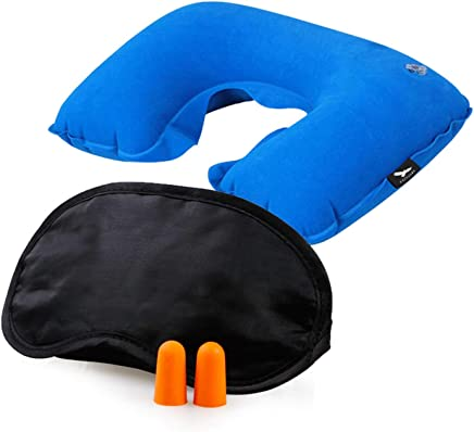 HappenWell 3 in 1 Tourist Neck Travel Pillow with Cushion Car-Eye Maks Sleep Rest Shade and Ear Plug (Multi-Colour)
