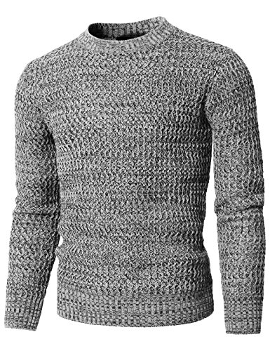H2H Mens Fashion Round Neck Twisted Knitted Pullover Sweater Gray US M/Asia L (KMOSWL0203)