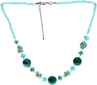 "Lova Jewelry ""Teal Sea"" Hand-blown Venetian Murano Glass Necklace"