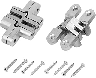 ZXHAO 304 Stainless Steel MA-03 Mortise Mount Invisible Hinge with 4 Holes 2pcs (with Screws)