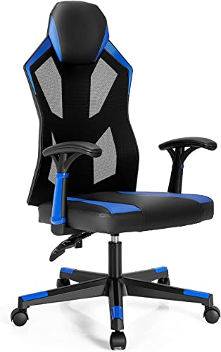 wholesale Giantex High Back Gaming Chair, Racing Style Mesh Video Game Chair, wholesale Height Adjustable Task Chair, Swivel Executive Reclining Office Chair, Ergonomic Home Desk Computer Chair Back Adjustable high quality (Blue) online