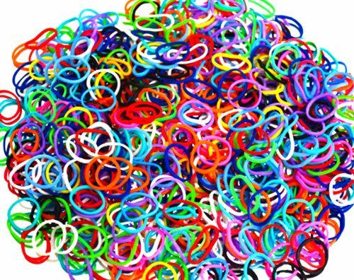 ETHAHE 600pcs Loom Bands Elastiques Multicolores Bracelet à Tricoter sans Latex avec 25 C-Attaches