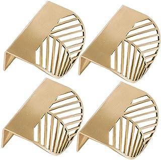 4 stks keukenkast deuren handgrepen - slaapkamer lade trekt blad vorm messing gouden kast trekt meubels handgrepen keuken ...