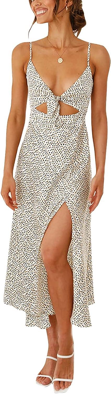 Remelon Women's Casual Tie Front Spaghetti Strap Hollow Out Printed Dress Sexy High Split Boho Midi Dress