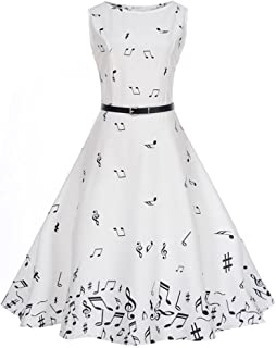 Women Dress, SMTSMT Women Vintage Printing Bodycon Sleeveless Casual Evening Party Prom Swing Dress Musical notes waist dress