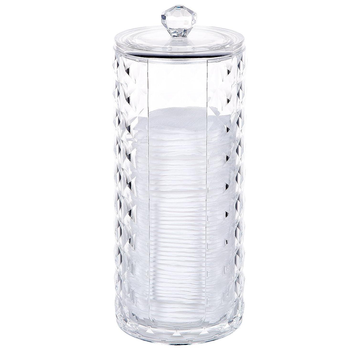 水グリル卒業コスメボックス 綿棒収納ボックス アクリル製 ダイヤモンド模様 多功能 コスメ小物用品?化粧品収納ケース 透明 (円形)