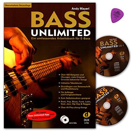 Bass Unlimited - umfassendes Arbeitsbuch für E-Bass für E-Bass mit 2 CDs, Dunlop Plek (1.14mm) - Überarbeitete Neuauflage - DUX790-9783934958500