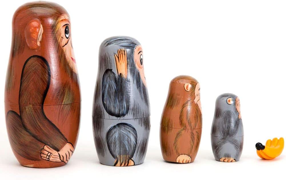 5PCS Hand Painted Monkey Animal Wooden Russian Nesting Dolls Matryoshka Toys