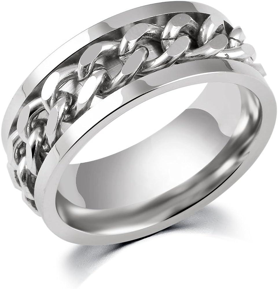 316L Stainless Steel Center Chain Spinner Fidget Ring