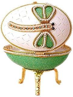 Verde de música, diseño de huevo de fabergé música Joyero, recuerdo joyería caja hecha a mano de cáscara Gliter Pearl