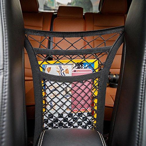 MICTUNING 2 Schicht Auto Organizer Netz Tasche Kofferraum Netz Speicher Verdickungsnetz -Handy-Kind-Spielzeugdung-Schutznetz