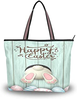 AUUXVA Easter Bunny Egg Handbags for Women Tote Bag Top Handle Shoulder Bag Satchel Purse