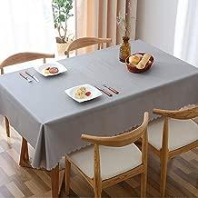 L&T PVC Impermeable Mantel Rectangular, Color Sólido Lavables Manteles Clip De Dinero A Prueba De Aceite Comedor Mesa De Cafe Exterior Casa-Gris Claro 90x90cm(35x35inch)
