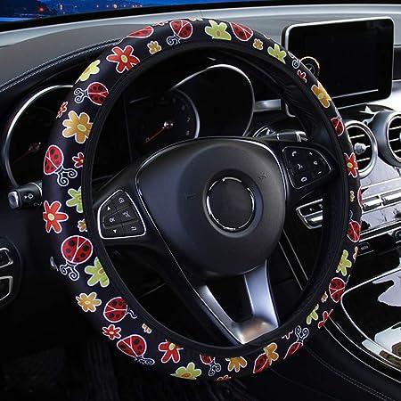Auto Accessories Decor Universal Non Slip Soft Red Stripe and Stars Design Belidome Flag Car Steering Wheel Cover