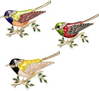 CAILI 3 pcs Broche del Pájaro, Broche Aceite de la Pintura de la Rama, Perno Hermoso del Taladro del Punto de la Joyería d...