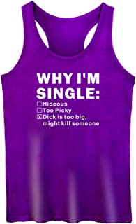 GROWYI Womens Workout Tank Tops Racerback Why I'm Single Humor Funny Saying TV Fitness Gym Sleeveless Shirts for Women