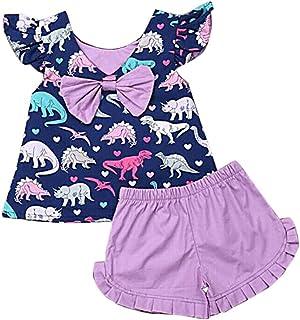 7d6e4e7ab5 Gyratedream Summer Casual Fille de Bébé Fille Dinosaure Imprimer Haut sans  Manches Et Kit Pantalon Court