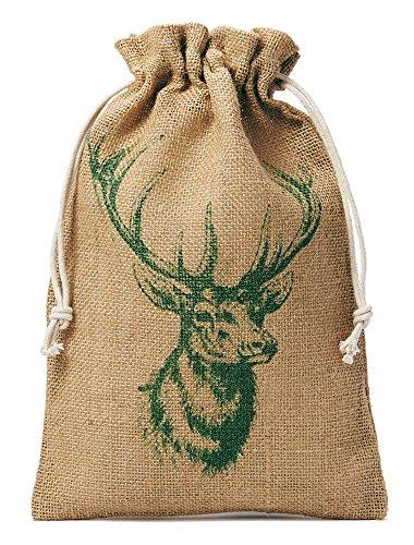 5 Jutebeutel, Jutesäckchen mit Baumwollkordel und aufgedrucktem Hirsch-Motiv, Geschenkverpackung, Dekoration, Outdoor, Jagd, Wald-Motive (50x40cm)